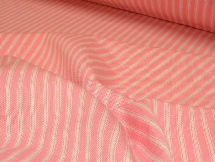 St Ives Pink / White 100% Cotton Woven Ticking Curtain / Upholstery Fabric
